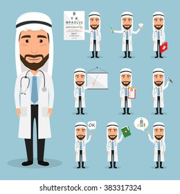 arab doctor character at hospital. healthcare medical.