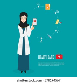 arab doctor character with mobile application for treatment. healthcare medical.