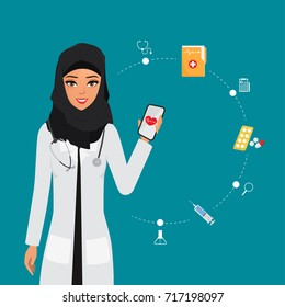 arab doctor character with mobile application for treatment. healthcare medical in hospital.