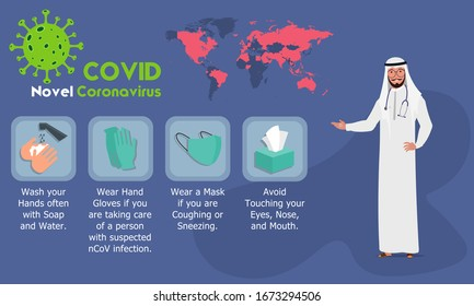 Arab Doctor explaining COVID 2019 Infographics. Coronavirus or COVID-19 preventions. Vector illustration