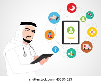 Arab Doctor with Medical App Icons