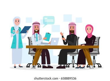 Arab doctor talking with patient in the hospital. flat character design. vector illustration