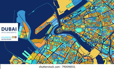 Dubai, United Arab Emirates, Colorful Vector Artmap. Blue-Orange-Yellow Version for Website Infographic, Wall Art and Greeting Card Backgrounds.