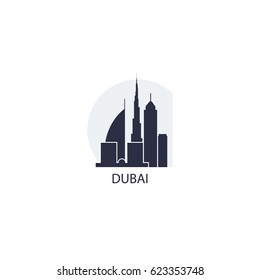Arab Emirates Dubai cool blue big city landscape panorama view vector flat icon logo
