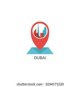 Arab Emirates Dubai map city pin point geolocation modern skyline shape pointer vector flat logo icon illustration