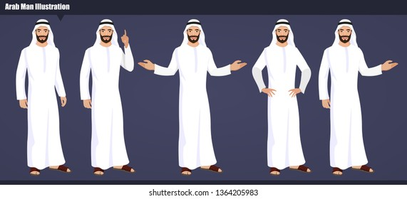Arab Emirates vector character Set with hand poses and actions illustration. Arab businessman wearing traditional clothing and Islamic head scarf men clothing style Vector illustration.