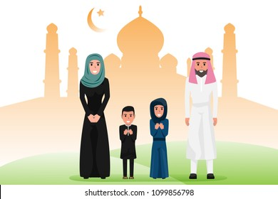 Arab family characters in various pose. Happy saudi, emirates muslim senior man, woman, parents, father, People in national clothing and hijab. Character of muslim religion concept vector illustration