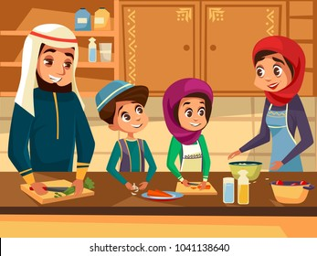 Arab family cooking together at kitchen vector cartoon flat illustration. Muslim family of father and mother with daughter and son children preparing national meal food in traditional Muslim clothing