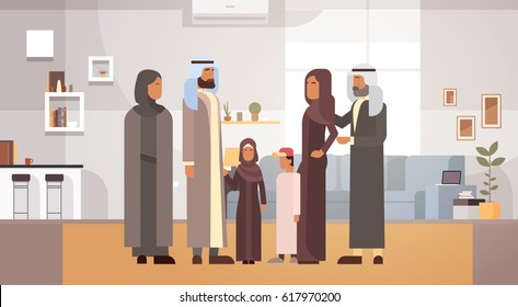 Arab Family Home, Arabic Parents With Children In Modern Apartment Flat Vector Illustration