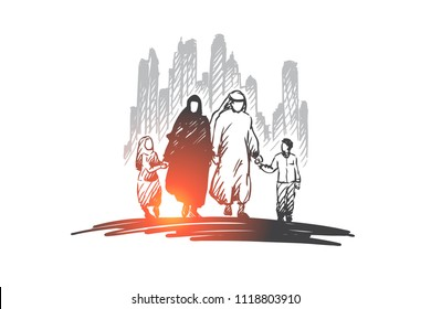 Arab, family, muslim, culture concept. Hand drawn traditonal arab family with children concept sketch. Isolated vector illustration.