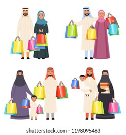 Arab family shopping. Muslim happy people male female and kids in market with bags vector cartoon characters isolated. Illustration of saudi people family shopping, arabian traditional buyer