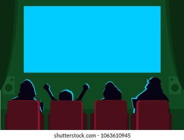 Arab family watching in a cinema. Editable Clip Art.
