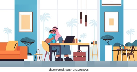 arab father sitting at workplace with little son fatherhood parenting concept dad spending time with his kid at home living room interior horizontal full length vector illustration