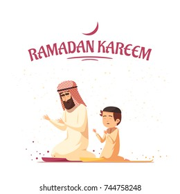 Arab father and son in traditional muslims clothing praying during ramadan kareem holy month celebrations cartoon vector illustration