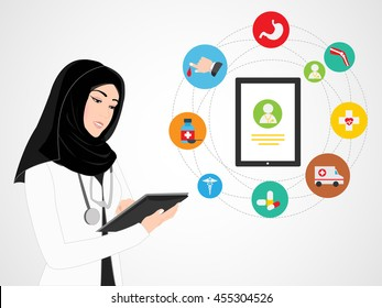 Arab Female Doctor with Medical App Icons