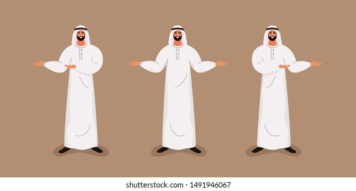 Arab handsome bearded businessman in traditional formal clothes in different poses with hands. Set of saudi Male cartoon character. Vector illustration in cartoon style.