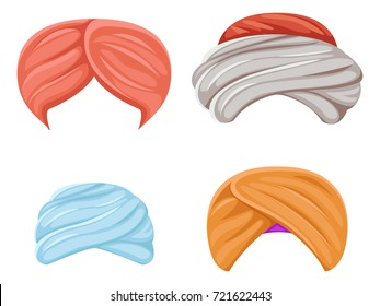 Arab indian culture headdress turban sikh sultan bedouin isolated icons set cartoon design video effects chat photo portrait vector illustration