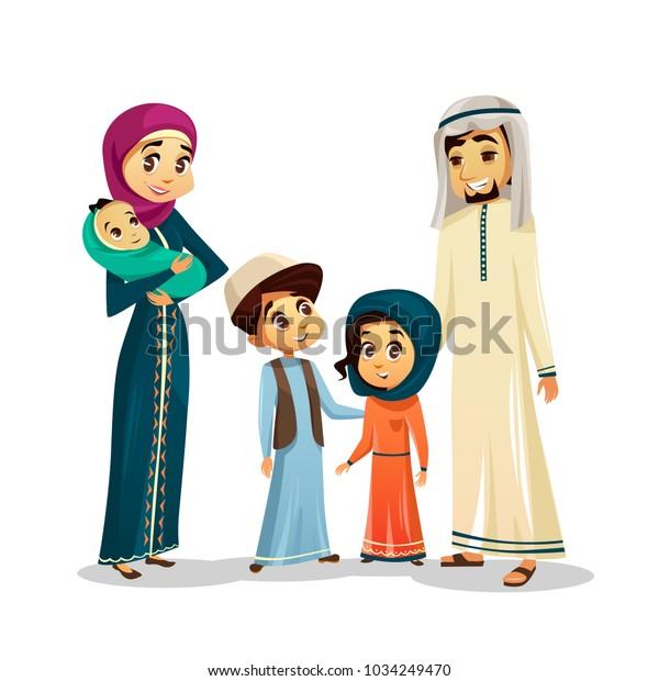 Arab Islamic Family Traditional Clothing Vector Stock Vector