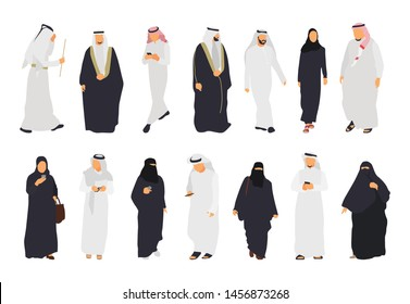 Arab isolated flat illustration set. Arab people in traditional clothes - Vector