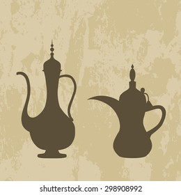 Arab jug and coffee pot old background. Vector illustration. EPS 10