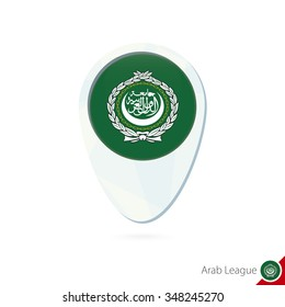 Arab League flag location map pin icon on white background. Vector Illustration.