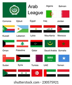 Arab League Arab member countries vector flags. Original and simple Arab league members flag isolated vector in official colors and proportion correctly. Middle east states and some country of Africa.