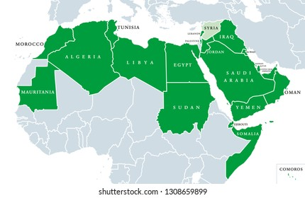 Arab League political map. League of Arab States, location in North Africa and Arabia. Regional organization of 22 member states. Syria is suspended since 2011. English labeling. Illustration. Vector.
