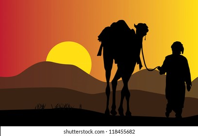 Arab male with camel vector design