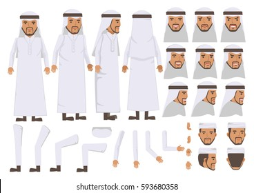 Arab Man character creation set. Icons with different types of faces and Islamic head scarf men clothing style, emotions,  front, rear, side view of male person. Moving arms, legs. Vector illustration