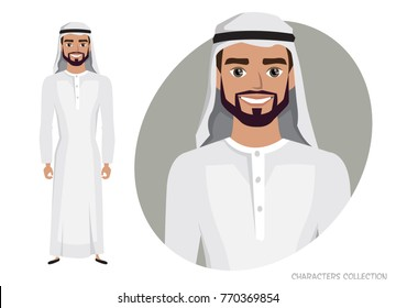 Arab Man character is happy and smiling.