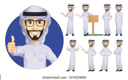 Arab Man Character Set, Vector EPS 10