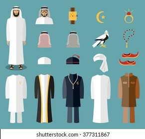Arab man clothes and accessories. Traditional islam wear. Vector illustration