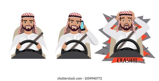 Arab man driving a car. man driving a car talking on the phone. The man had an accident. crash
