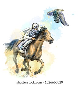 Arab man gallops a horse hunting with a falcon. Vector sketch drawn image with watercolor splashes on white background