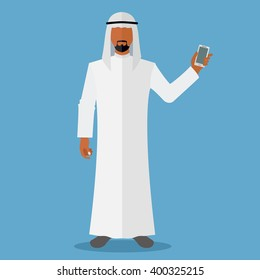 Arab man holding smartphone vector illustration