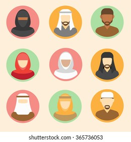 arab man icon set of flat and girl icons with clothes businessman isolated user avatar
