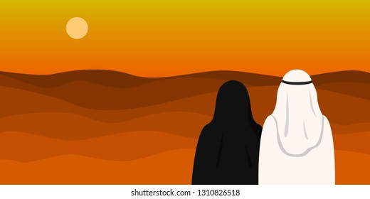 Arab man in kandura and woman in hijab looking at desert. Copy space. Vector illustration.