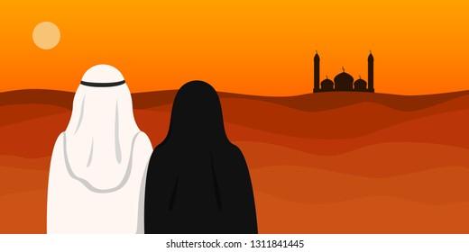 Arab man in kandura and woman in hijab looking at mosque. Vector illustration.