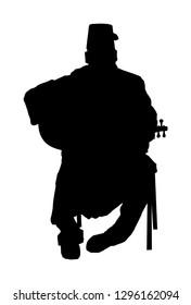 Arab man play oud, lute or mandola vector silhouette, traditional music instrument from Asia. Islamic culture. Musician from middle east. Popular street performer, tourist attraction. Oriental event