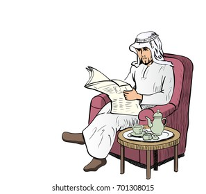 Arab Man reads the newspaper on a sofa in the living room with a tea set, have space for text, Character design - Vector Illustration