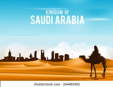 Arab Man Riding in Camel in Wide Desert Sands in Middle East Going to City in Kingdom of Saudi Arabia. Editable Vector Illustration