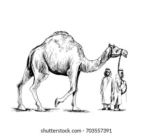 Arab man standing with a camel, Hand Drawn Sketch Vector illustration.