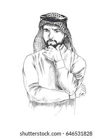 Arab man thinking hand drawn sketch. Vector illustration.