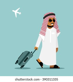 Arab man in travel concept . Young saudi arabic man in traditional clothes walking with suitcase on airport background