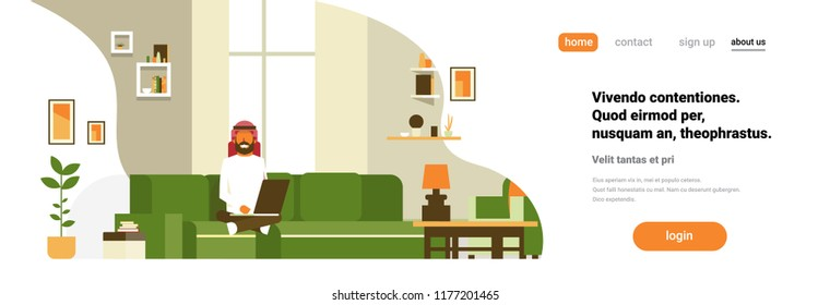 arab man using laptop living room interior home modern apartment male relax concept flat horizontal banner copy space vector illustration