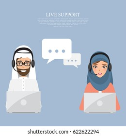 Arab man and arab woman to customer service. Illustration vector of arab people.