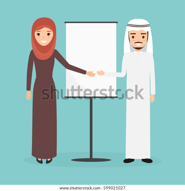 arab man and woman presenting character at office work. people character vector design.