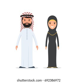 Arab man and woman in traditional national costume. Arabian muslim couple. Vector illustration in cartoon style isolated on white background