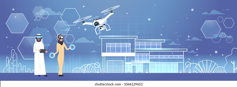 Arab Man And Woman Wearing 3d Glasses With Drone Over Smart House Background Virtual Reality Concept