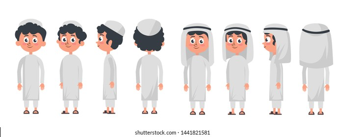 Arab muslim boy character isolated on white background. Muslim boy wearing traditional clothing front, rear, side view. Vector arab illustration in flat style.